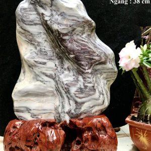 Đá cảnh tự nhiên Vân Serpentine trắng đen như tranh KT : C62xN38 cm (MS : 208)