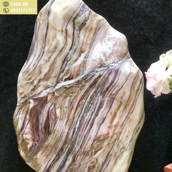 Đá cảnh tự nhiên nguyên khối vân xếp tầng Serpentine KT : C59 x N34 (Ms: 209)
