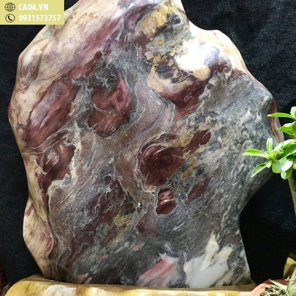 Đá cảnh tự nhiên nguyên khối đỏ tươi và thổ cẩm Serpentine KT : C65 x N50 (Ms: 215)