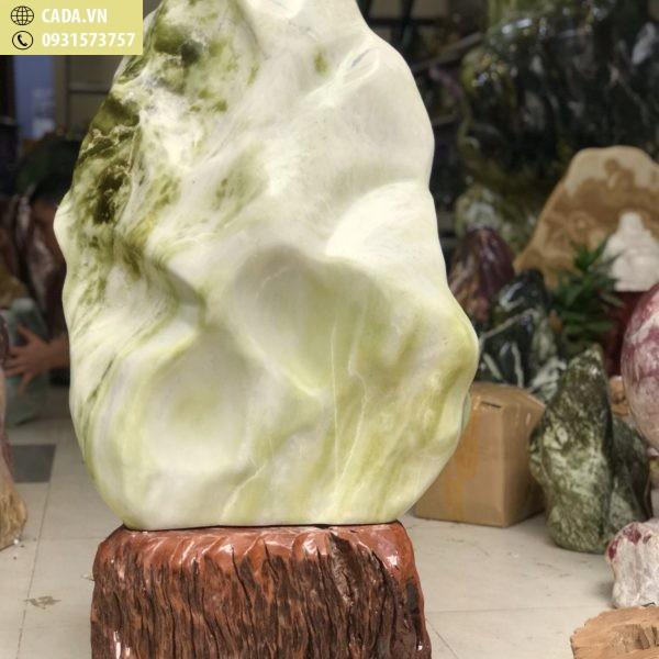 Cây đá ngọc serpentine xanh trắng chất sáng