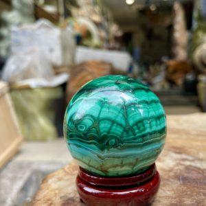 quả cầu đá malachite, đá khổng tướcquả cầu đá malachite, đá khổng tước