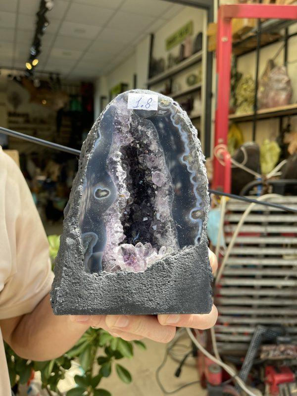 Hốc thạch anh tím - Amethyst Geode - KT : 16x11cm, 1.8kg (T88)