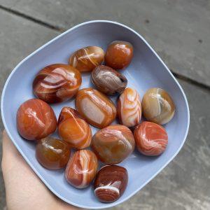 Palm đá mã não đỏ cam - Agate Palm - Đá thanh tẩy, sưu tầm